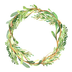 Watercolor christmas wreath of green buxus branch, leaves and red berry