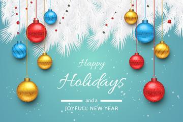 Turquoise Happy Holidays and Joyful New Year Vector Illustration. Happy holidays vector. Fototapete
