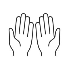 Muslim praying hands linear icon