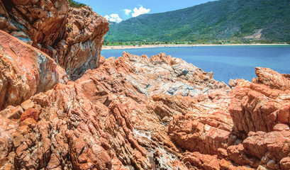 Paradise of rocks on the beach
