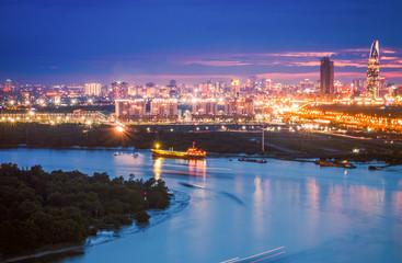 Aerial night view of Saigon City, Vietnam