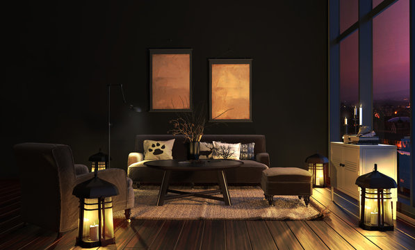 Wohnzimmer im Landhausstil bei Nacht