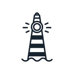 Lighthouse Beacon Sea Light Sign Symbol Minimalistic Color Flat Line Stroke Vector Icon