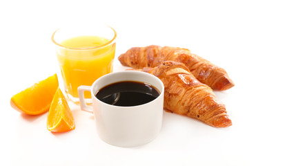 coffee cup, croissant and orange juice