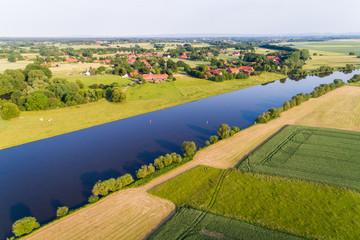 Fluss Weser in Norddeutschland
