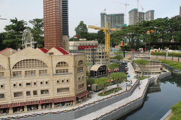 Kuala Lumpur, Malaisia - October 13: Fragment Big Grand Maket. Street, port and Twins buildings