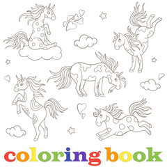 Set contour illustrations of unicorns, funny cartoon animals, black contour on white background coloring book