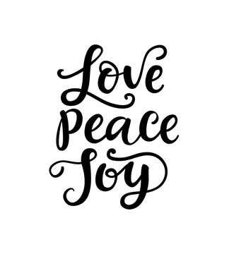 Merry Christmas Typography, Hand Lettering. Love, Peace, Joy