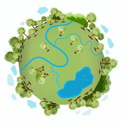 A green planet with many green trees, a river, a lake and with clouds around it
