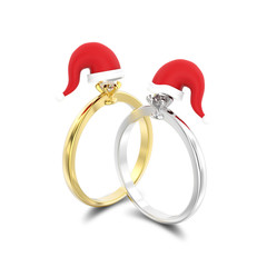 3D illustration two isolated yellow and white gold or silver solitaire engagement diamond rings in the Christmas Santa Claus hats with shadow