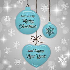 Merry Christmas and Happy New Year fashionable tiffany blue & silver banner, pattern, card & background vector