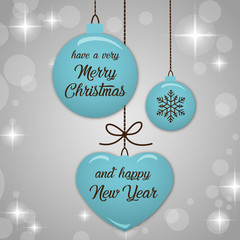 Merry Christmas and Happy New Year fashionable blue & silver banner, pattern, card & background vector