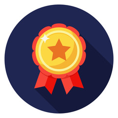 Star badge icon. Illustration in flat style. Round icon with long shadow.