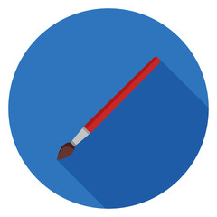 Paint brush icon. Illustration in flat style. Round icon with long shadow.