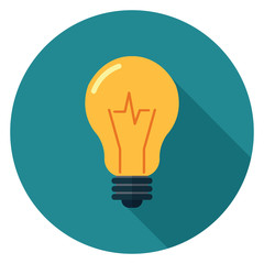 Light bulb icon. Illustration in flat style. Round icon with long shadow.