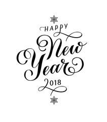 Happy New Year 2018. Calligraphic text with snowflakles