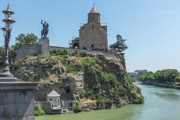 Tbilisi, Georgia, Eastern Europe - Metekhi Church next to the Mtkvari River.