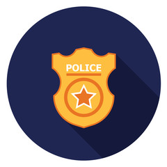 Police badge icon. Illustration in flat style. Round icon with long shadow.