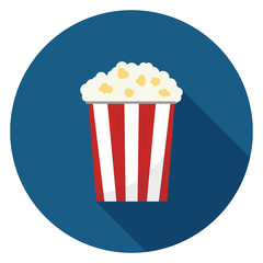 Popcorn icon. Illustration in flat style. Round icon with long shadow.