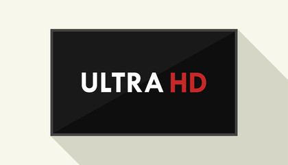4K ultra TV. Television display with high definition. Illustration in flat style with long shadow.
