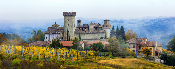 Medieval towns and castles of Italy -Vigoleno with vineyards in Emilia-Romagna Fototapete