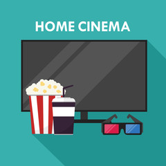 Home cinema. 3D glasses, popcorn and soda. Watch movies online concept. Illustration in flat style with long shadow.