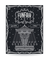 Funfair party invitation on chalkboard with vintage carousel and decorative elements. Vector illustration