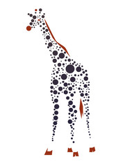 Giraffe consist of dots. Vector clip art