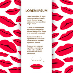 Flat poster or banner template with lips. Vector illustration.