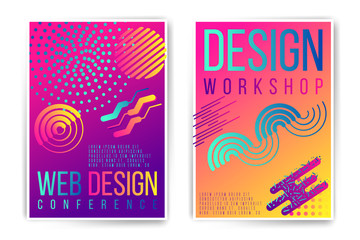 Design workshop, design conference placard. Vector neon fluid abstract poster template. Minimal modern presentation, brochure, cover. Trendy colors edition. Easy to modify and add text.
