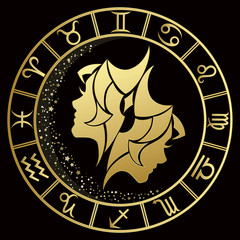 Gemini zodiac sign on a dark background with round gold frame