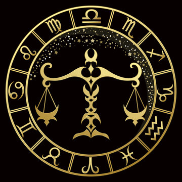 Libra zodiac sign on a dark background with round gold frame
