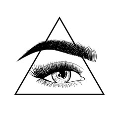 Beauty eye with eyebrow. Logo design template. Hand drawn vector illustration - All seeing eye pyramid symbol. Freemason and spiritual. Vintage