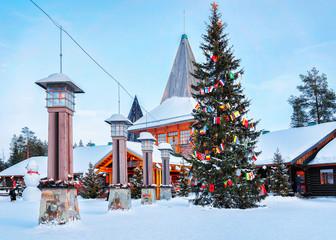 Wall Murals Northern Europe Arctic Circle lanterns at Santa Office in Santa Village Lapland