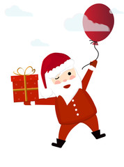 Santa Claus flies across the sky on a ball among the clouds and holds a gift box in his hand. New Year's and Christmas