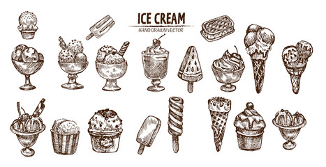 Digital vector detailed line art ice cream in cone