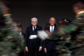 Italian President Sergio Mattarella is welcomed by his Portuguese counterpart Marcelo Rebelo de Sousa at Jeronimos Monastery in Lisbon
