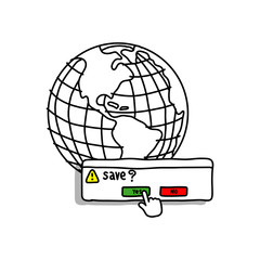 save the earth vector illustration doodle sketch hand drawn with black lines isolated on white background.