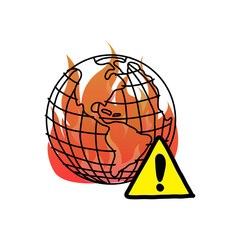 global warming with warning sign vector illustration doodle sketch hand drawn with black lines isolated on white background.