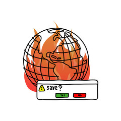 save the earth with fire vector illustration doodle sketch hand drawn with black lines isolated on white background.