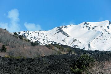 snow on mount etna in winter