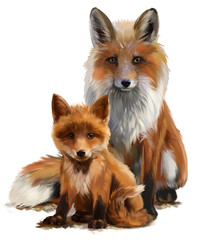 Fox mom and cub watercolor painting