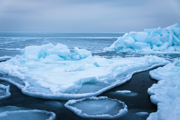 Ice floes off the coast of the Sea of Japan.