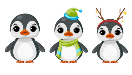 Cute penguin in winter clothes.