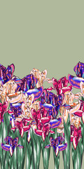 Purple Iris Blossom Vector Seamless Pattern