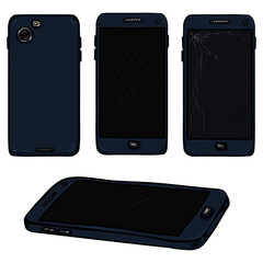 Vector Set of Cartoon Dark Blue Smart Phone Illustrations. Front and Back View.