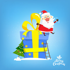 Santa Claus sit on the big new year gift. Vector, illustration