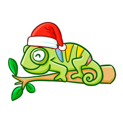 Cute and funny chameleon wearing Santa's hat and smiling - vector.