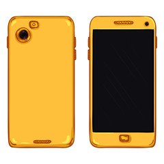 Vector Set of Cartoon Smartphones. Back and Front View.