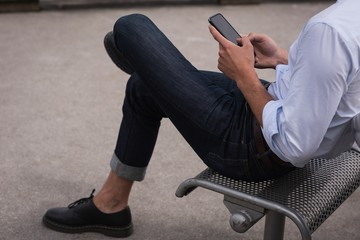 Male executive using mobile phone